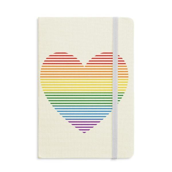 Arco-íris Gay Lesbian Forrado coração LGBT Notebook Tecido clássico capa dura Jornal Diário A5