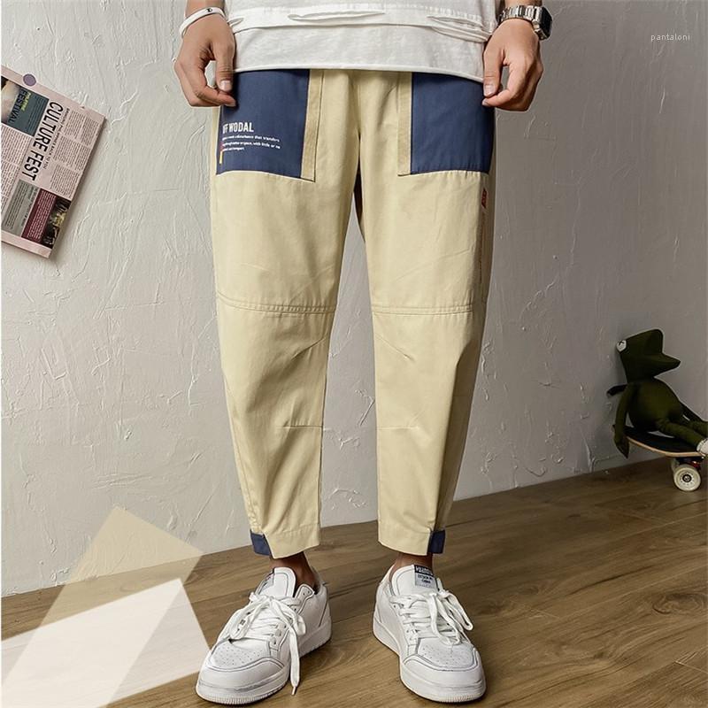İşleme Erkek Casual Gevşek Baskılı Düz Pantolon Erkek Ins Stil Pantolon Erkek Pantolon Moda Cep Pantolon