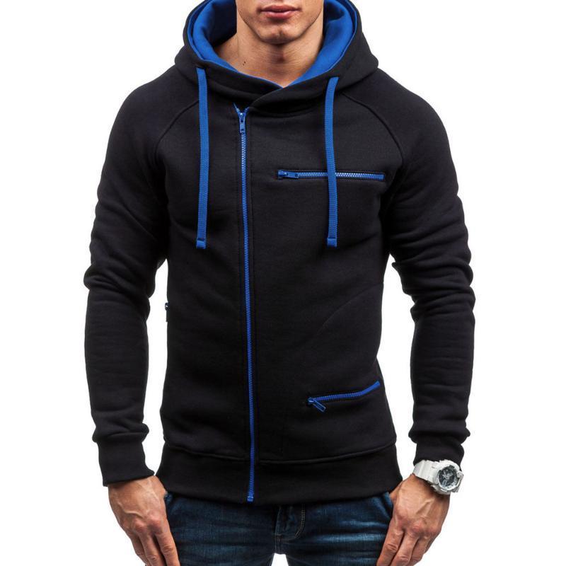 Caliente para hombre otoño invierno sudaderas con capucha de manga larga con capucha remiendo ocio del hombre de Calle capucha abrigos Ropa