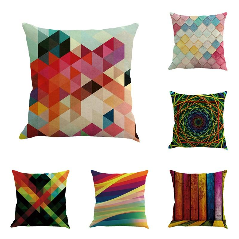 Cotton Linen Pillow Cushion Abstract Geometry Pattern Pillowcase Colorful Flax Car Office Sofa Pillowslip Hot Selling 5 5ny L1