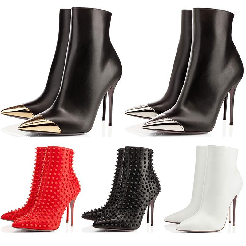 Tasarımcı Ayakkabı Yani Kate Spike Styles Yüksek Topuklar Yarım Diz Ayak bileği çizmeler Kırmızı Lüks Bottoms sneaker 8 10 12 14CM moda boyutu 35-42