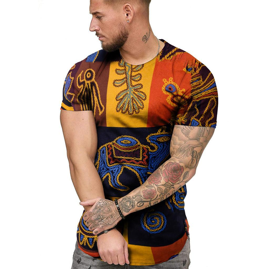 African Print Men 'S T Shirts Summer Casual O-Neck Fit Short Sleeve Shirts Mens T Shirts Fashion Comfort Streetwear Tshirt Size M-3XL
