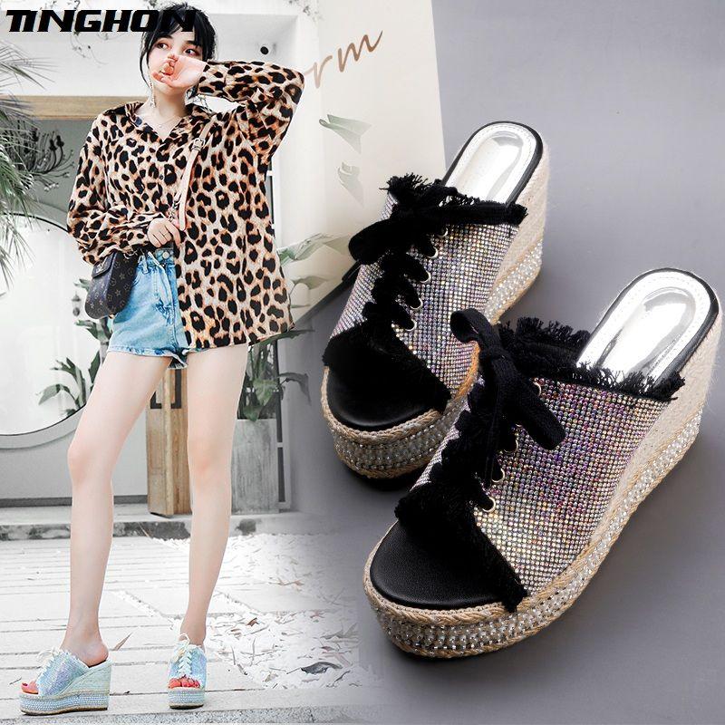 TINGHON Summer Wedge Slippers Platform High Heels Women Rhinestone Outside Shoes Rhinestone Wedge Slipper Flip Flop Sandals