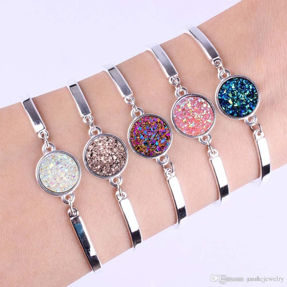 Productos calientes de Amazon Pulsera de plata de color plateado Pulsera estrellada Pulsera de piedra natural simple