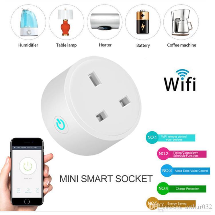 16A Royaume-Uni UE Smart Plug avec Alexa, Google Accueil Voix audio Contrôle sans fil, Sortie Smart Smart 2.4G avec téléphone Android iOS