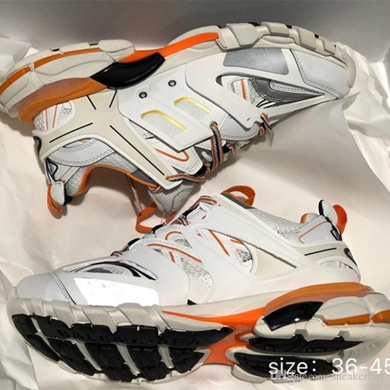 Version 3.0 Tess S Paris piste gomma noir hommes maille pour femmes Triple S Maladroit Sneaker Chaussures Casual Hot Shoe authentique Designer