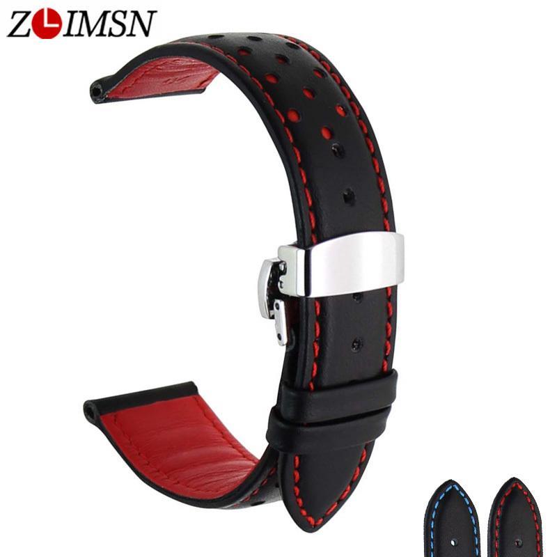 Zlimsn Yumuşak Hakiki Deri Watch Band Kayışı Değiştirme Siyah Mavi 20 22mm Erkekler Saat Kayışı 316l Paslanmaz Çelik Kelebek Toka Y19052301