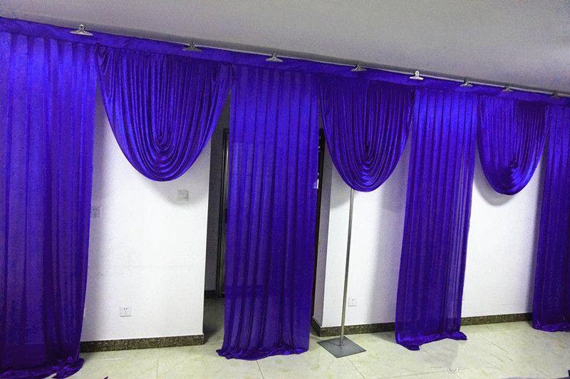 6M الملكي اسعة سوجس الزرقاء المصمم زفاف تصاميم خلفية حزب الستار الستائر الاحتفال المرحلة الأداء خلفية الحرير الستارة 5 اللون