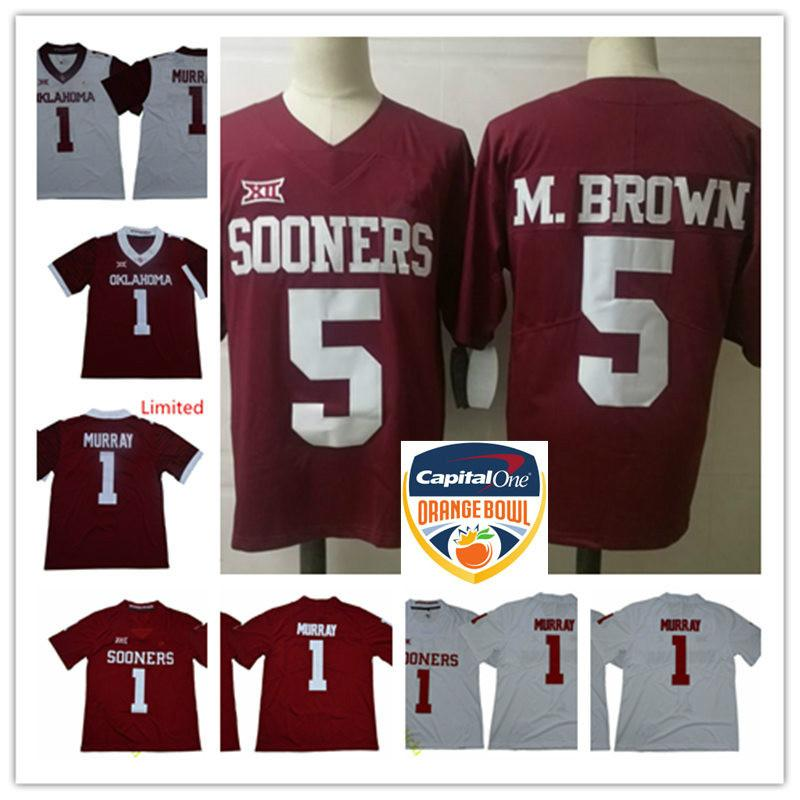 2018 nuova marca Mens NCAA Oklahoma Sooners Kyler Murray College Football Jersey # 5 Marquise Brown Oklahoma Sooners Orange Bowl Jersey