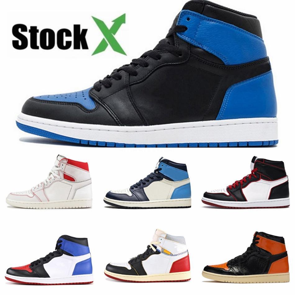 2020 Jumpman 1 1S Hommes Chaussures de basket-bas Unc Paris Obsidian Ember Glow Top Cyber 3 Orewood Brown royal Planche à roulettes d'entraînement militaire Sn # QA303