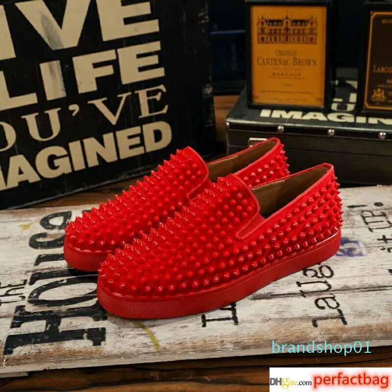 2019 nuovo progettista scarpe da tennis pattini inferiori rossi Low Cut Spikes appartamenti per gli uomini Donne in pelle Sneakers Casual Scarpe con sacchetto di polvere 36-45 lll