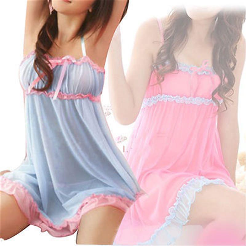Hirigin 1 pc beauté 2 couleurs sexy de lingeries Bow Robe épissé dos nu robe de nuit G-string Nouveaux