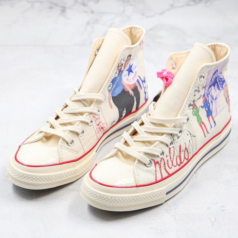 قماش جديد أحذية أربعة ألوان تشاك 70 الماندرين بطة الكتابة على الجدران صورة الصخرة عصري نمط تايلر الخالق الرجال النساء أحذية مجلس عارضة 35-44