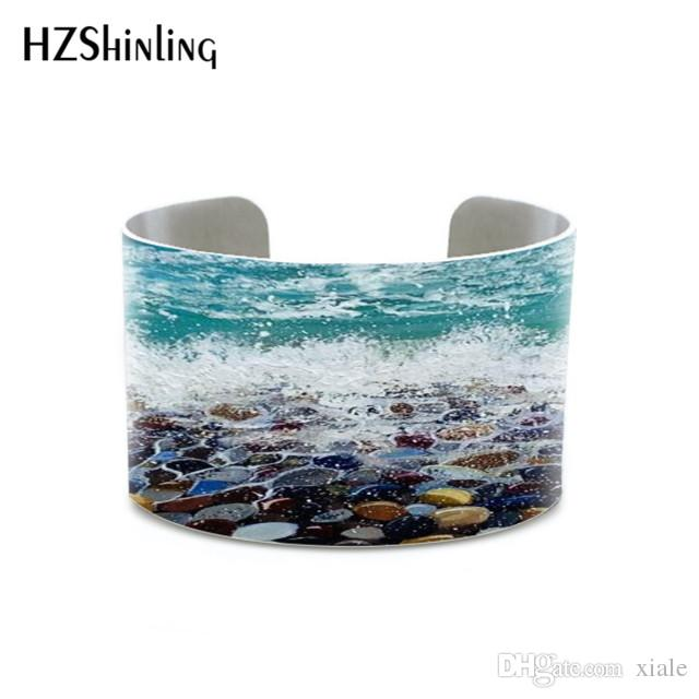 Summer meadow florals Bluebells painting blue purple flowers jewelry Winter snow Seascape painting abstract bangles bracelets