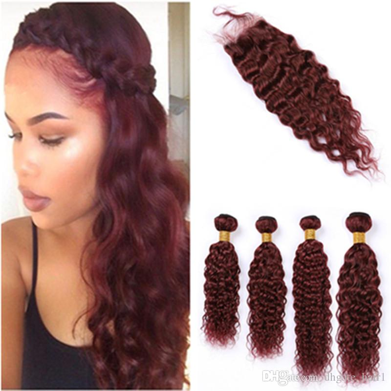 Wine Red Hair Weaves Wet and Wavy Human Hair 4Bundles and Closure 99J Burgundy Water Wave Brazilian Virgin Hair Weaves with Lace Closure