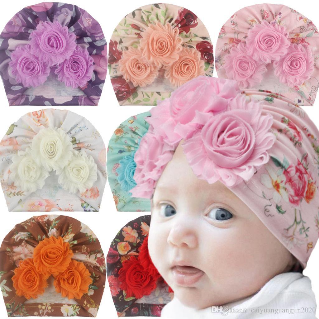 INS 2020 Baby Girl Baby Girl Hat Cotton Flower Beanie Cap Todler Turban Photo Props