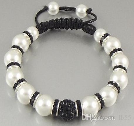 nouveau style! 10mm couleur Mixte noir Chaud spacer disco Billes Perles Bracelets meilleur Cristal Cristal Bracelet bijoux Cadeau De Noël