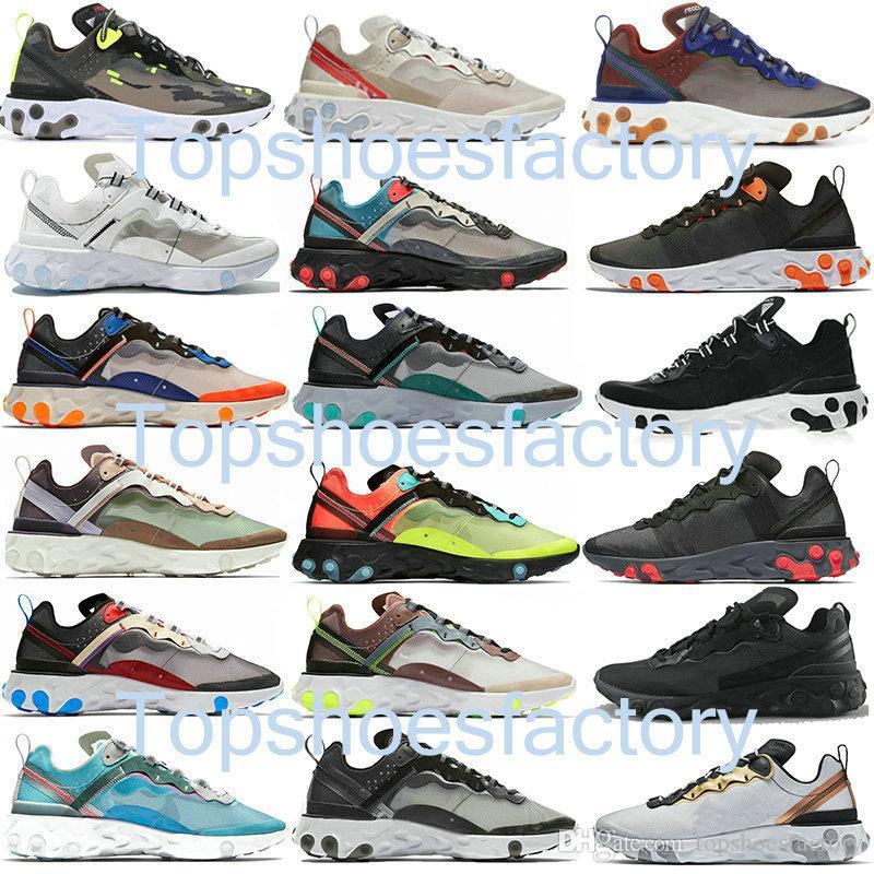 Nike air react element 87 55 Undercover 87 55 رد العنصر 87 55 رجل الاحذية الرجال والنساء قشر البرتقال الشراع ثلاثية أسود أبيض طبقات مسجلة المدربين أحذية رياضية الرياضة