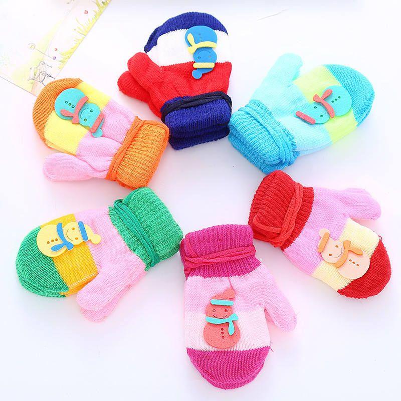 Cartton Baby Kitted Mittens Cute Winter Sling Gloves Mitten Boys Girls Patchwork Color Mitts Kindergarten Children Warm Glove Mittens Best