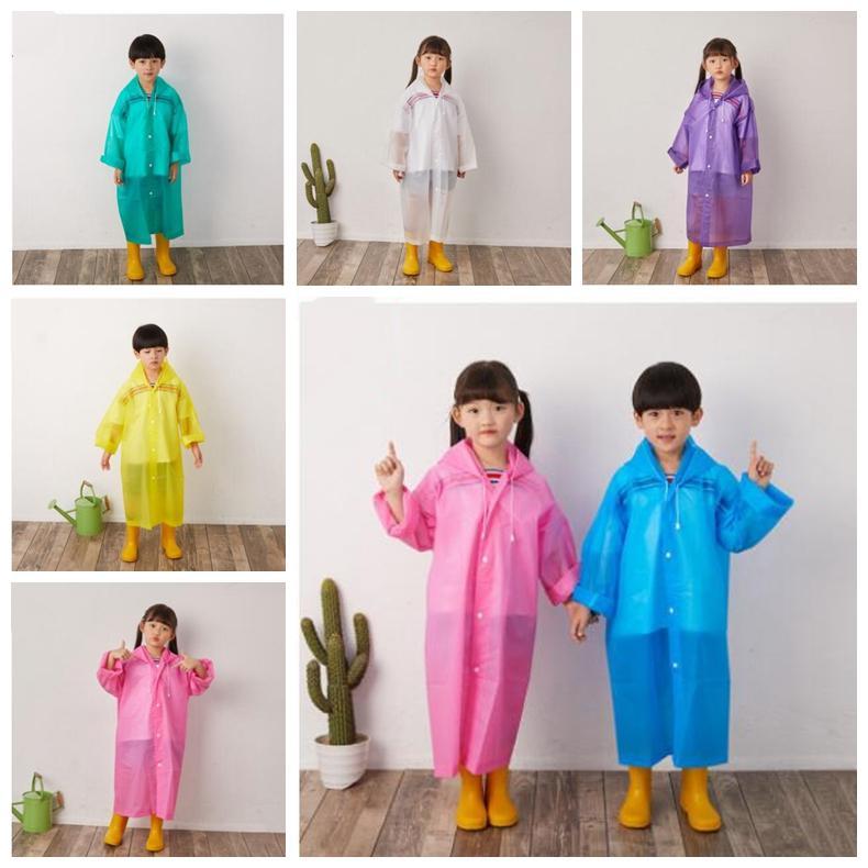 أطفال مقنع معطف واق من المطر الأطفال EVA غير القابل للتصرف شفاف زر ملابس ضد المطر البيئة المطر كيب السفر في الهواء الطلق الطوارئ ملابس ضد المطر ZYQ422
