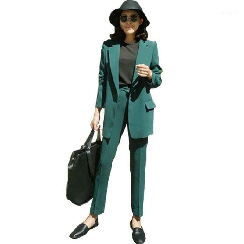 여성용 정장 블레이저 2021 사무실 비즈니스 정장 숙녀 봄과 가을 패션 느슨한 캐주얼 재킷 9 / 바지 두 조각 세트 1