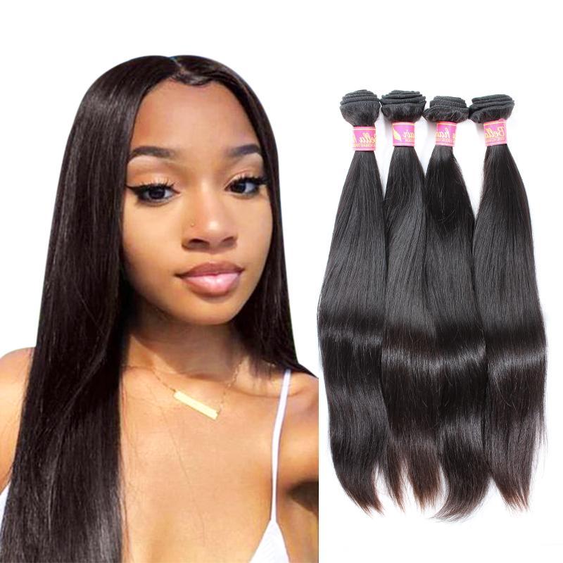 Bella Hair® 밍크 브라질 버진 블랙 더블 웨스트 스트레이트 헤어 익스텐션 8 ~ 30in 4 번들 인간의 헤어 웨이브
