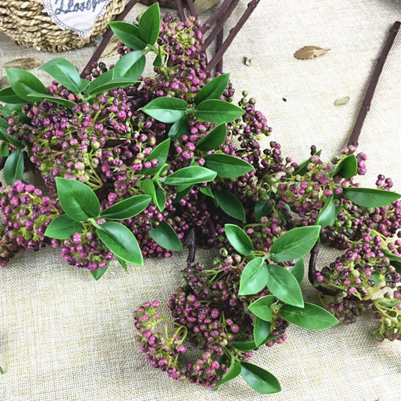 Фиолетовая ветка ягод фрукты ягоды искусственные цветы поддельные пластиковые растения для весеннего украшения дома флер artificielle