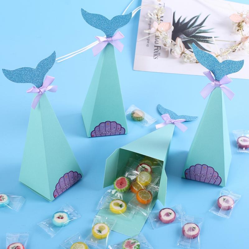 Güzel Denizkızı Hediye Kutuları Küçük Denizkızı Parti Doğum Çocuk Fovrs Hediyeleri Çanta Düğün Dekorasyon Bebek Şeker Kutusu Malzemeleri