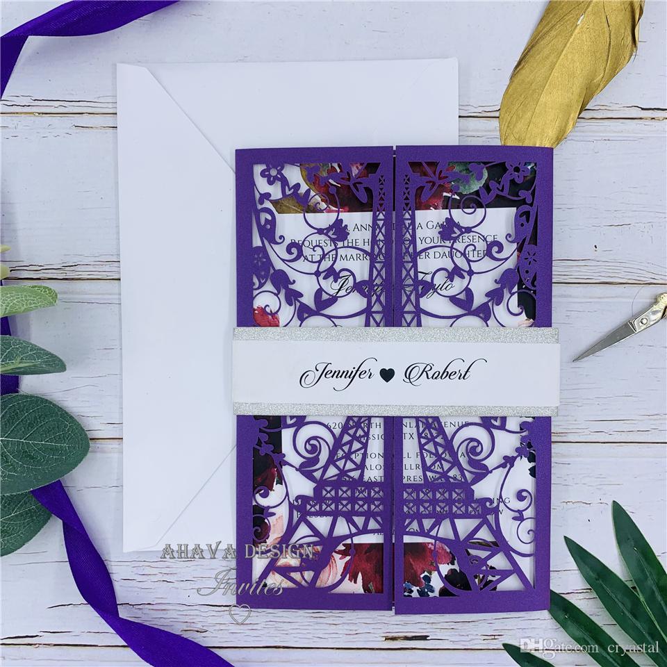 보라색 중공 초대 카드 레이저 커스터마이징 레이스 결혼식 초대장 카드, 맞춤 초대장 배송