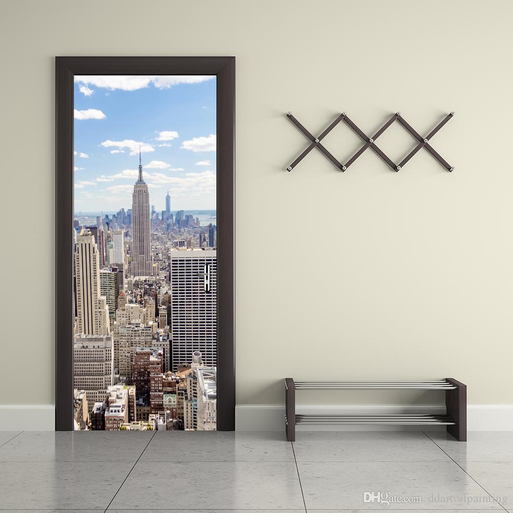 Acheter Creative Bricolage 16D Porte Autocollants New York Bâtiment Vue PVC  Étanche Porte Autocollant Modèle Home Decor Pour Chambre Décoration De La