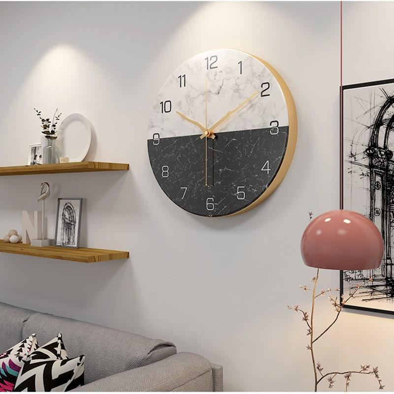 Marble pattern retro wall clock Nordic style home clock living room decoration fashion iron hanging