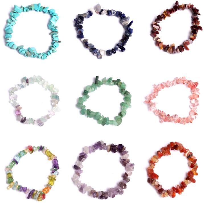 Naturel de guérison en cristal Sodalite Chip pierres précieuses de pierres précieuses Bracelet extensible mélange naturel Chakra Bracelets Bracelet Couple Mode
