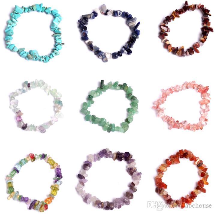 Crystal Natural Crystal Sodalite Chip Pipe Gemstone 18cm Bracelet Stretch Stretch Naturel Mixte Gemstone Chakra Fashion Bracelet Couple Bracelets
