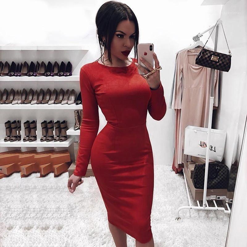 Taille O Ansatz Normallack-Partei-Kleid Eegant Outfits Street Frauen Suede Bodycon Midi-Kleid-