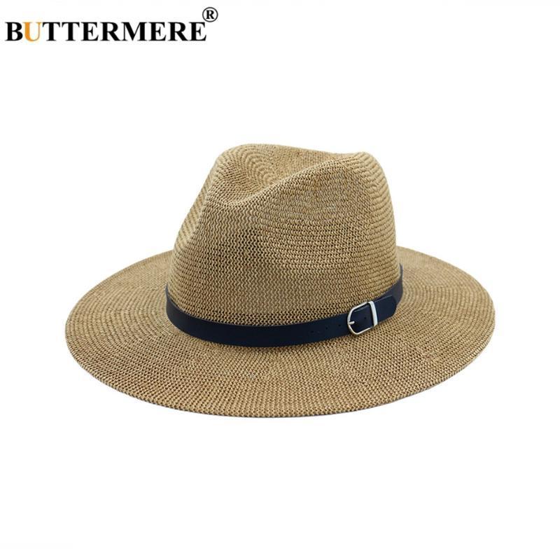 BUTTERMERE plage Chapeau de paille Brown Femmes Hommes large Brim élégant Panama Hat Fedora Casual mode Femme d'été chapeaux de soleil