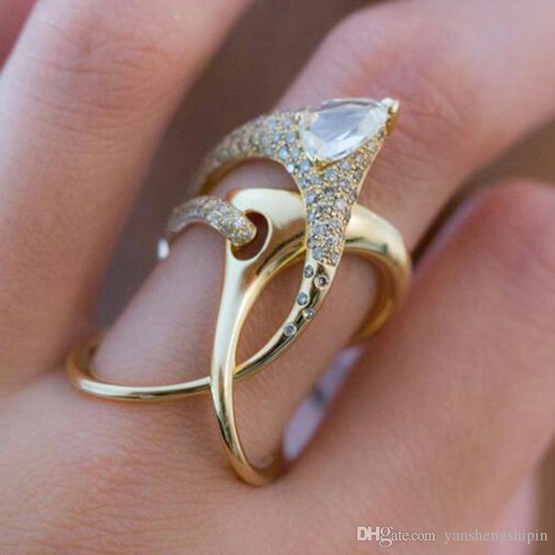 Basit pürüzsüz halka 18k altın kaplama elmas geometri eli balık kemik halka enfes parti alyans takı boyutu 6-10