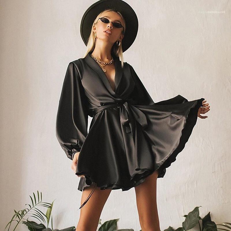 Langarm Solid Color Kleider Damen Kleidung Frauen Luxus Kleider Sexy V-Ausschnitt-Kleid Fashion Bow Lässige