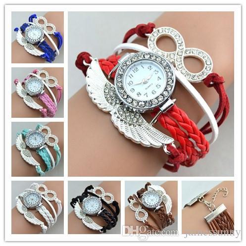 La mejor venta Reloj Infinito Pulsera de moda Relojes Diamantes Máscara Relojes de pulsera Mujeres Relojes de cuarzo Caja redonda Caída Entrega rápida
