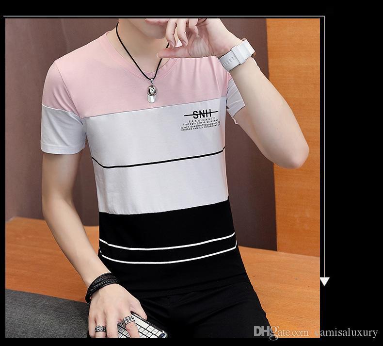 Mens respirável listrado Patchwork Casual homens camisetas Verão New Crew Neck manga curta masculina roupa de forma camiseta