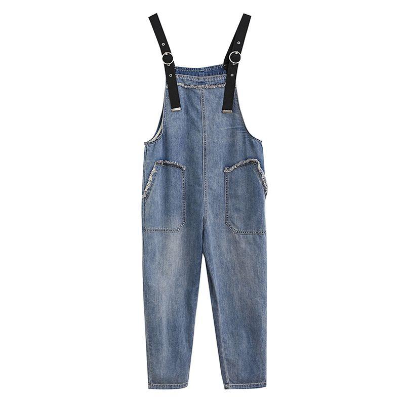 Summer Rompers Women Jeans Jumpsuit Large Size 2020 Loose Casual Denim Rompers Womens Jumpsuits Big Pocket Denim Overalls