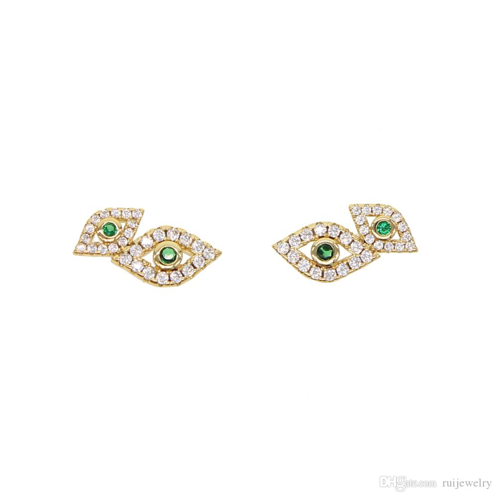 chic 1Pair Fashion jewelry for Girl Women European double Turkey Evil Eye Stud Earring paved green clear CZ Party Gift wholesale