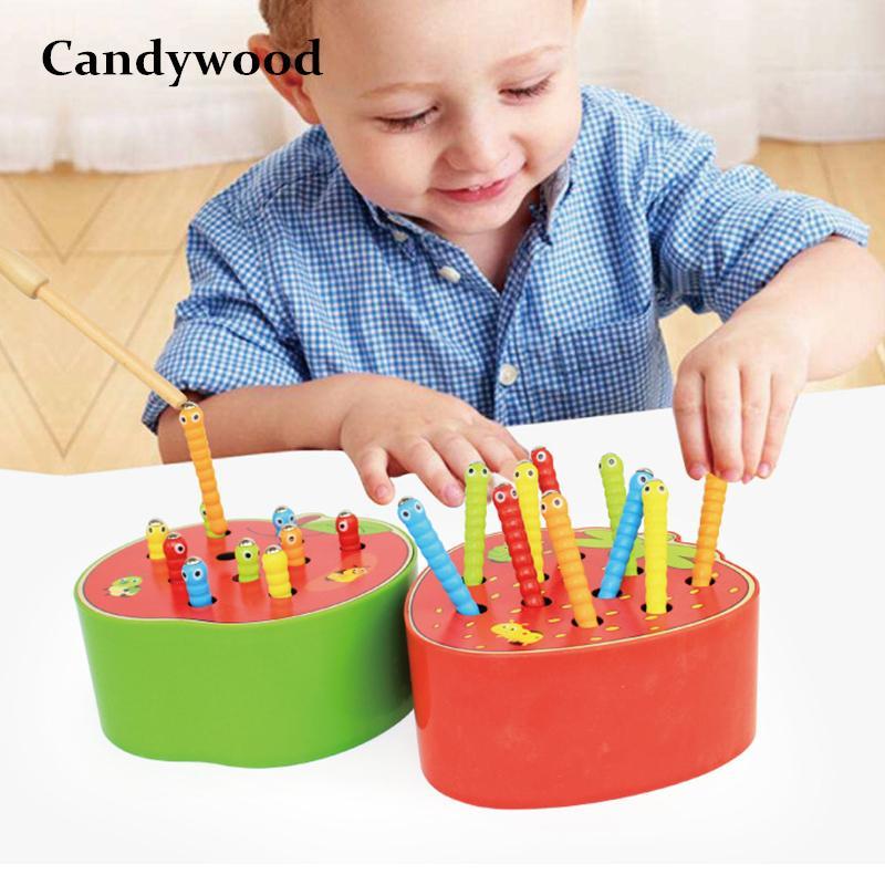 Candywood 잡아 웜 게임 어린이를위한 자기 나무 장난감 어린이 조기 교육 장난감 아기 블록 나무 장난감 소년 학습 Y19051804