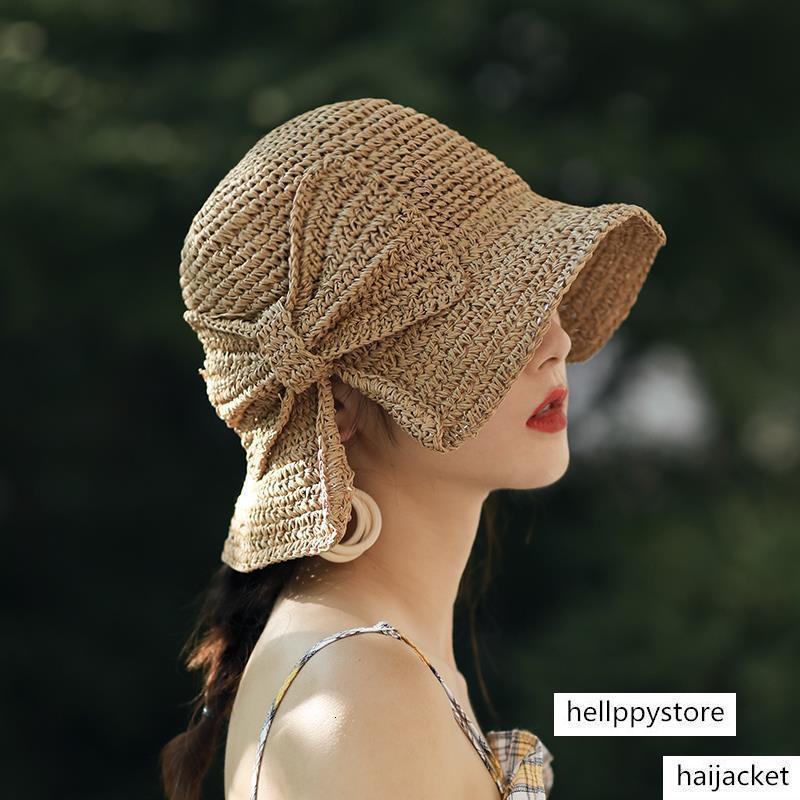 cubo de tejido pequeño borde de paja playa protección del sol del verano femenino del sombrero del arco pescador paraguas plegable