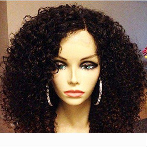 Top 360 de encaje frontal pelucas de pelo rizado peruano Virgen con 300 Densidad del frente del cordón del cabello humano pelucas de cabello humano 360 Frontal
