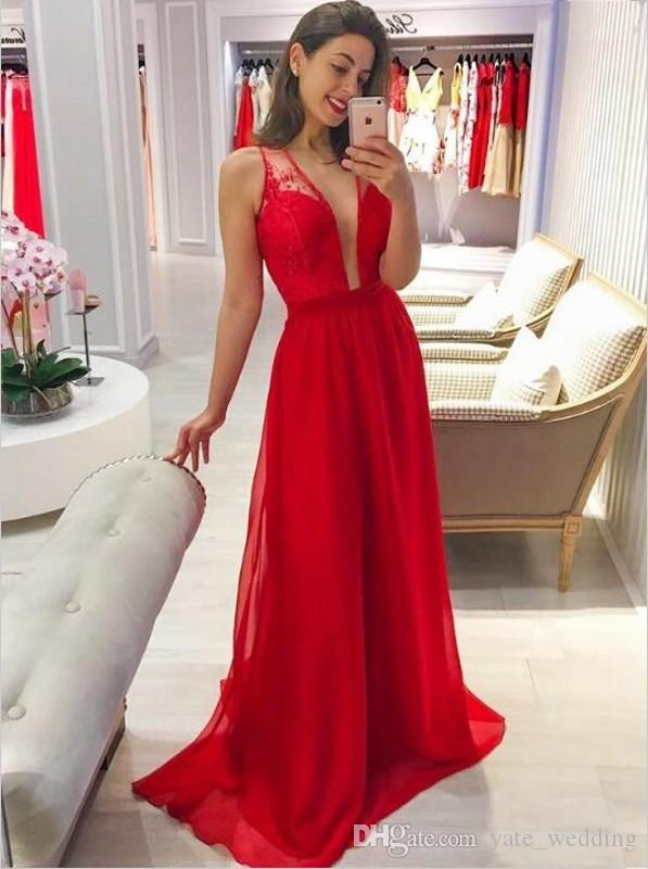 Red Simple Wedding Guest Dresses Sexy Deep V Neck Back Hollow Lace Chiffon Maid Of Honor Gowns Floor Length 2019 Fashion Bridesmaid Dresses