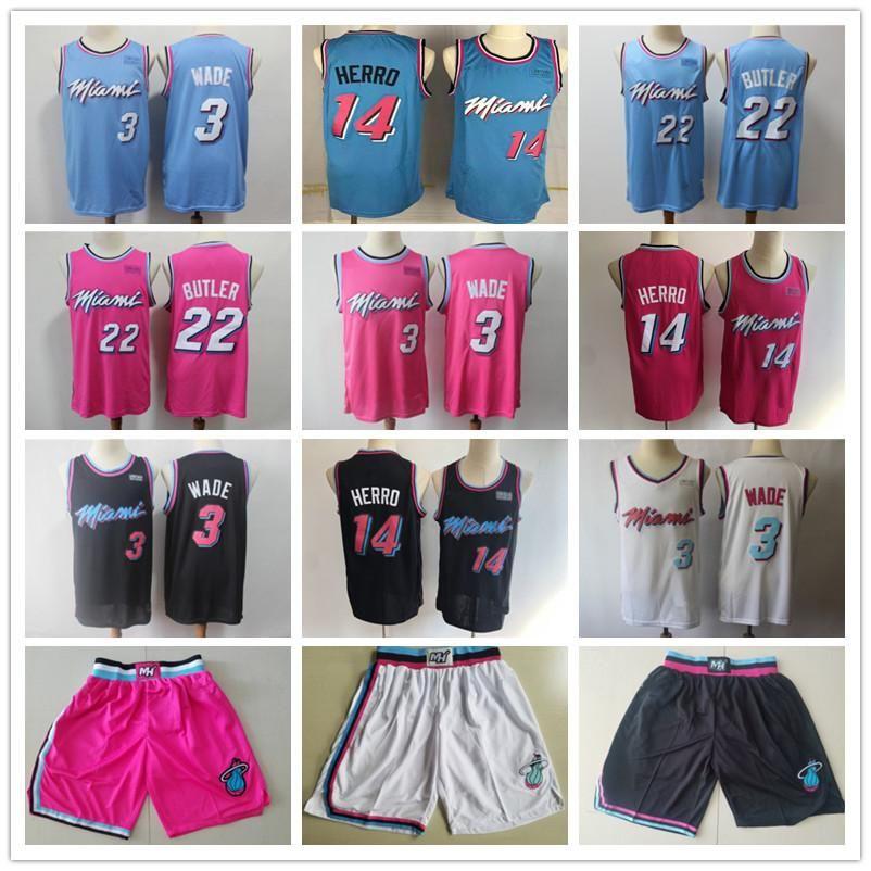 Mens MiamiHeatThrowback jerseys Dwyane 3 Wade Tyler 14 Herro Jimmy 22 Butler Basketball Shorts Basketball Jerseys pink Black