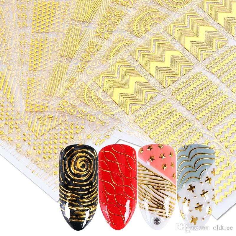 Shinny 3D Sticker Nails Art Gold Glitter Adhesivo Flor Vine para Manicura Consejos Mezcla calcomanías de uñas