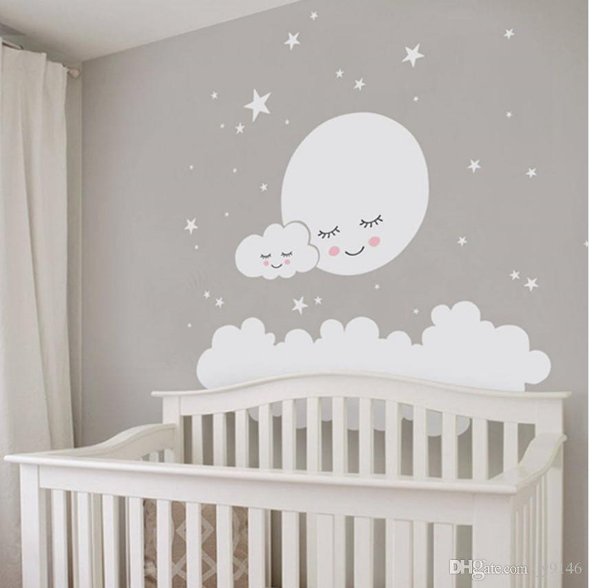 Moon Clouds and Stars Wall Decal Vinyl Self-adhesive Large Decorative Sticker Mural for Kids Room and Nursery Decoration