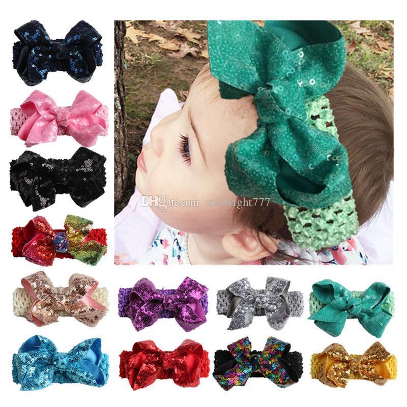 Weihnachten Haarschmuck Baby Mädchen Pailletten Bowknot Stirnbänder Kinder Shinny Elastic Hairbands Kinder Weihnachten Zubehör