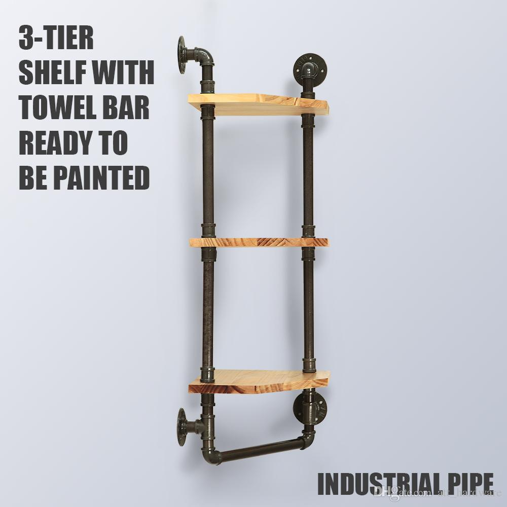 2021 Wall Mounted 3 Tiers Rustic Wall Towel Rack Floating Pipe Shelves Pipe Corner Shelf With Towel Bar From Att Hardware 99 50 Dhgate Com